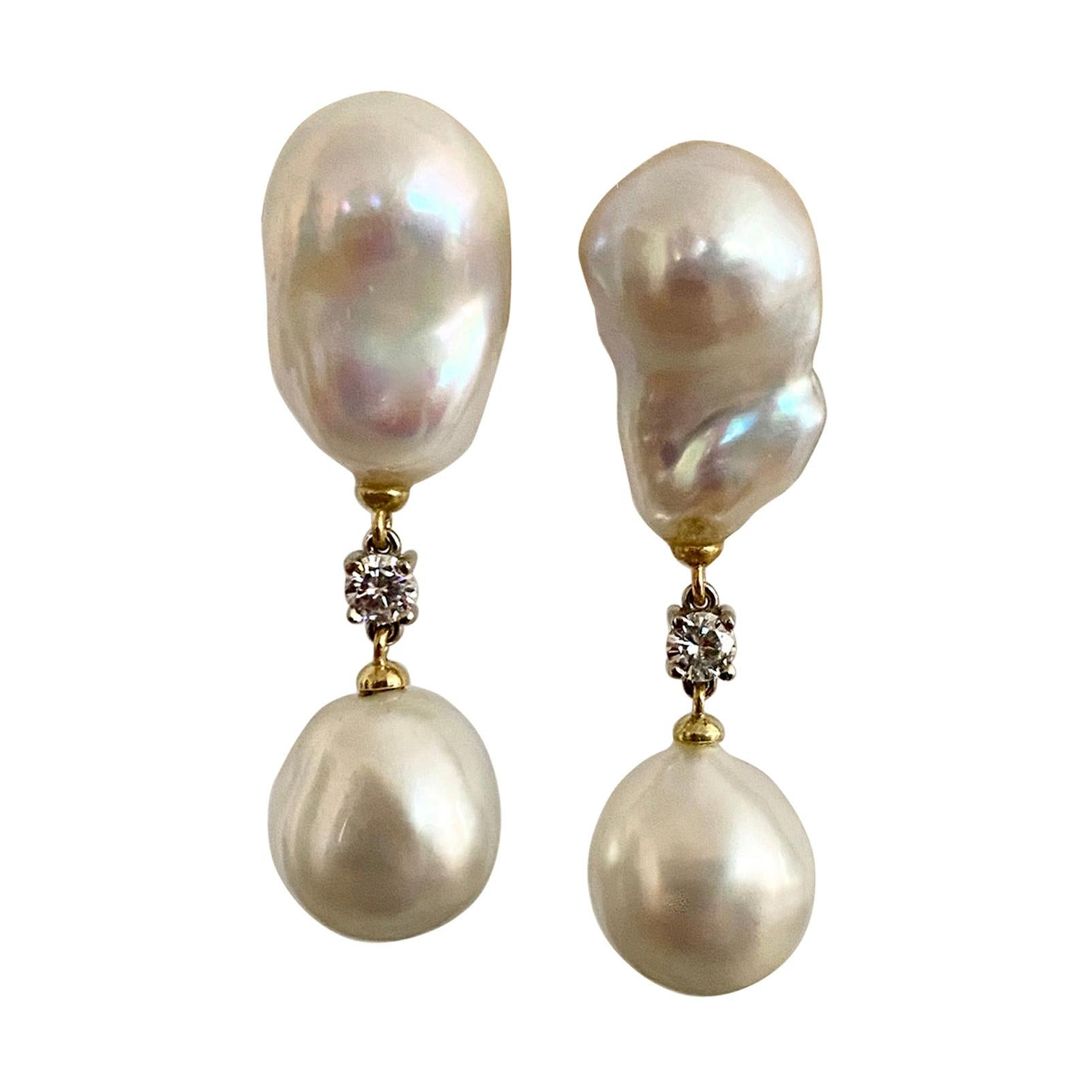 Michael Kneebone Baroque South Seas Pearl Diamond Dangle Earrings