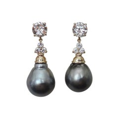 Michael Kneebone Baroque Tahitian Pearl Sapphire Diamond Dangle Earrings