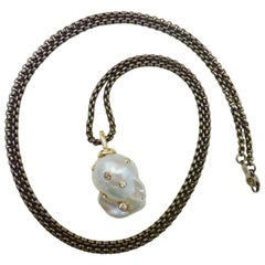 Michael Kneebone Baroque White Pearl Diamond 18 Karat Gold Titanium Pendant