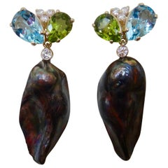 Michael Kneebone Black Keshi Pearl Topaz Peridot Diamond Dangle Earrings