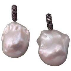 Michael Kneebone Black Pave Diamond White Baroque Pearl Drop Earrings