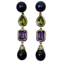 Michael Kneebone Black Pearl Peridot Amethyst Dangle Earrings