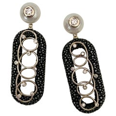 Michael Kneebone Black Shagreen White Pearl Diamond Dangle Earrings