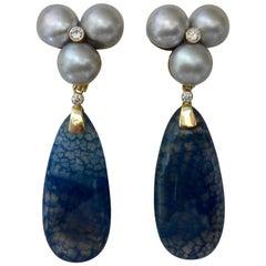 Michael Kneebone Blue Dragon's Skin Agate Pearl Diamond Dangle Earrings