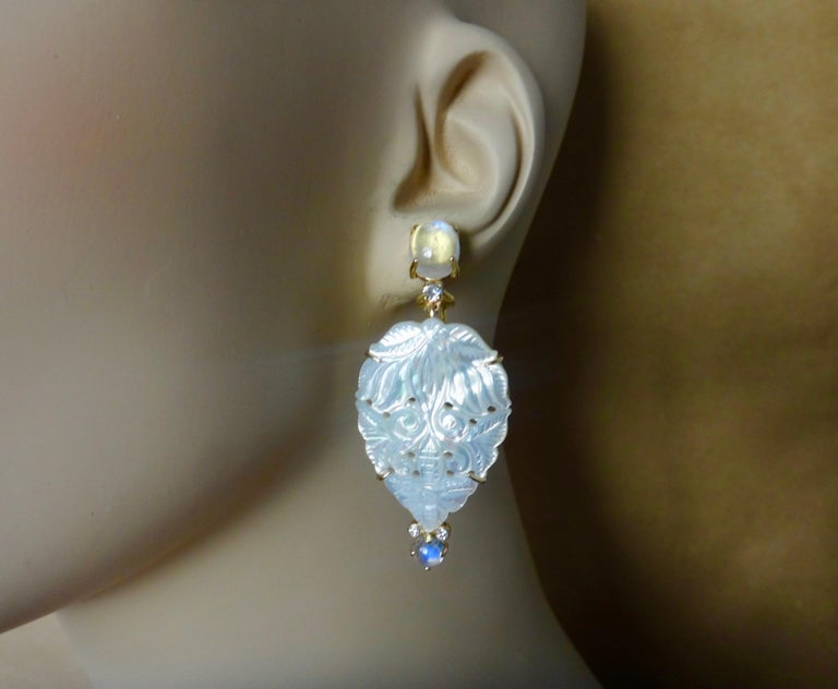 Michael Kneebone Blue Flash Moonstone Carved Mother of Pearl Dangle Earrings For Sale 5