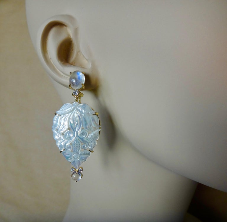 Michael Kneebone Blue Flash Moonstone Carved Mother of Pearl Dangle Earrings In New Condition For Sale In Palm Desert, CA