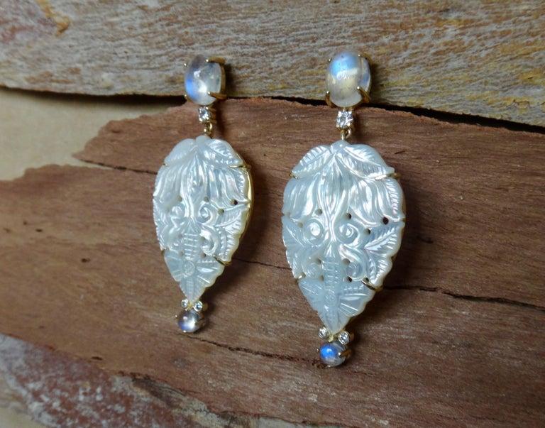 Women's Michael Kneebone Blue Flash Moonstone Carved Mother of Pearl Dangle Earrings For Sale