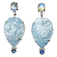 Michael Kneebone Blue Flash Moonstone Carved Mother of Pearl Dangle Earrings