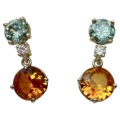 Michael Kneebone Blue or Green Zircon White Diamond Citrine Dangle Earrings