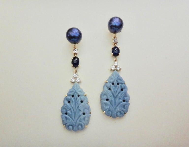 Michael Kneebone Blue Opal Sapphire Diamond Black Pearl Dangle Earrings For Sale 6