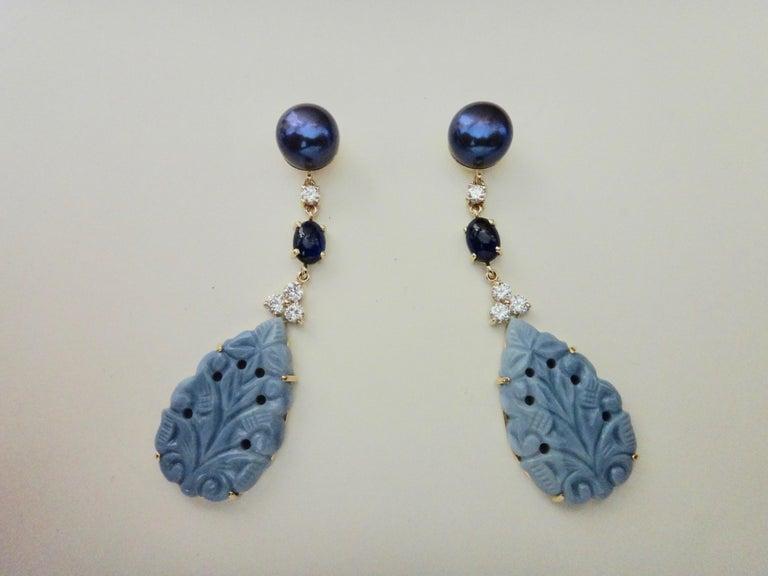 Contemporary Michael Kneebone Blue Opal Sapphire Diamond Black Pearl Dangle Earrings For Sale