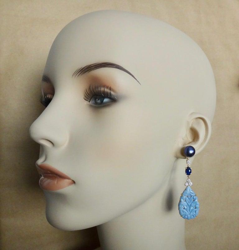 Michael Kneebone Blue Opal Sapphire Diamond Black Pearl Dangle Earrings In New Condition For Sale In Rancho Mirage, CA