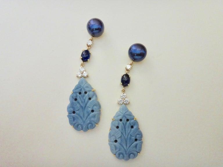 Women's Michael Kneebone Blue Opal Sapphire Diamond Black Pearl Dangle Earrings For Sale