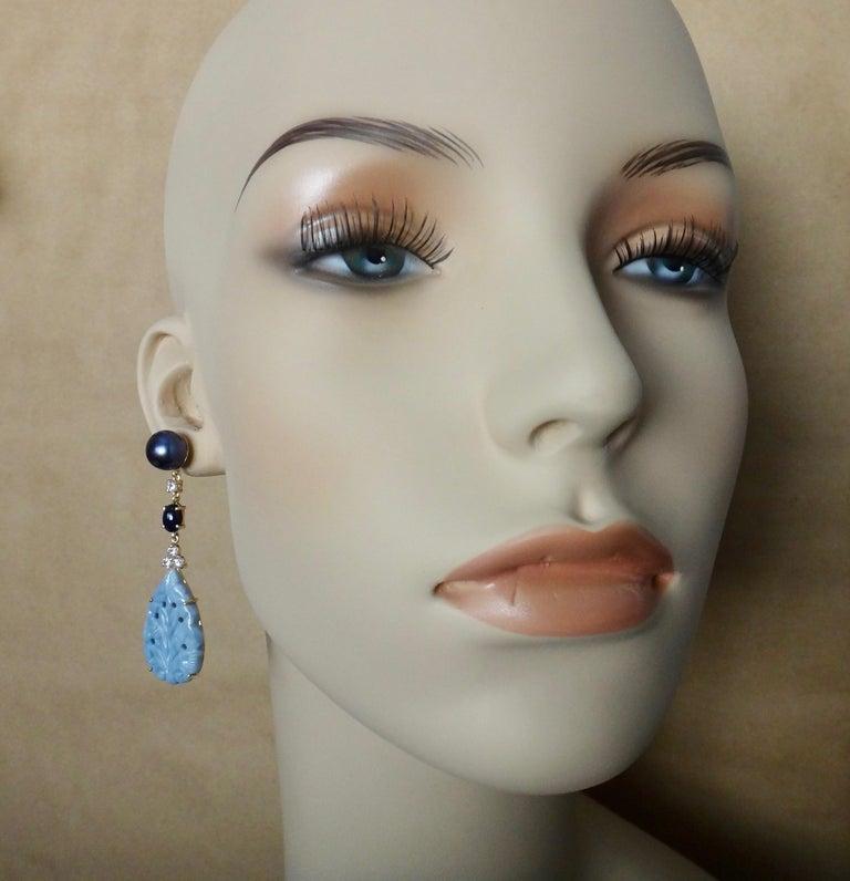 Michael Kneebone Blue Opal Sapphire Diamond Black Pearl Dangle Earrings For Sale 1