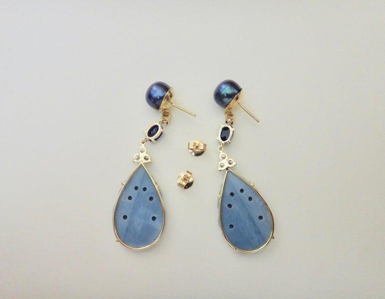 Michael Kneebone Blue Opal Sapphire Diamond Black Pearl Dangle Earrings For Sale 2