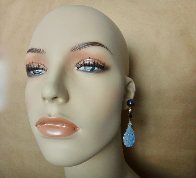 Michael Kneebone Blue Opal Sapphire Diamond Black Pearl Dangle Earrings For Sale 3