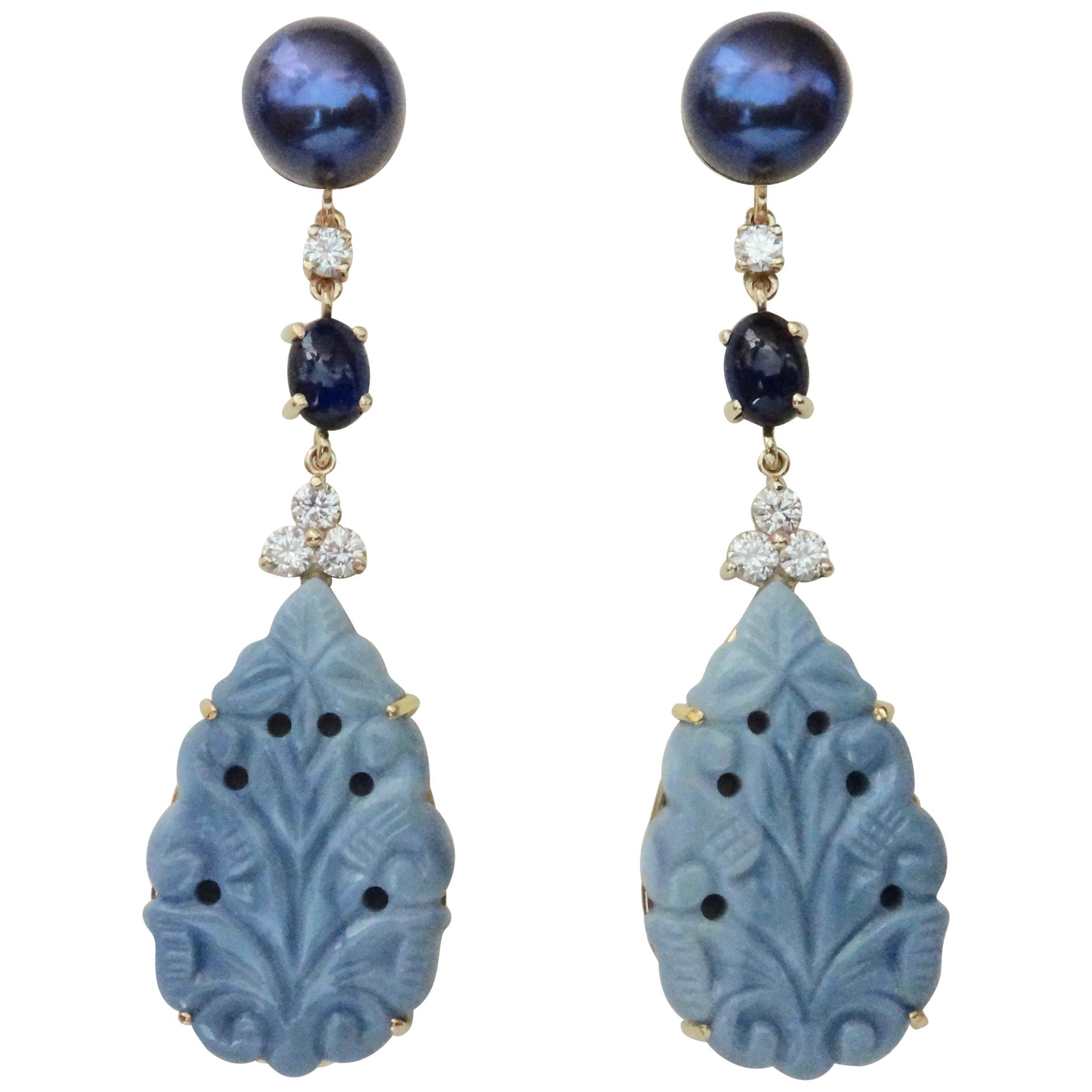 Michael Kneebone Blue Opal Sapphire Diamond Black Pearl Dangle Earrings