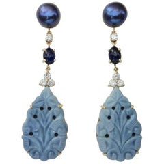 Michael Kneebone Blue Opal Sapphire Diamond Black Pearl Dangle Earrings