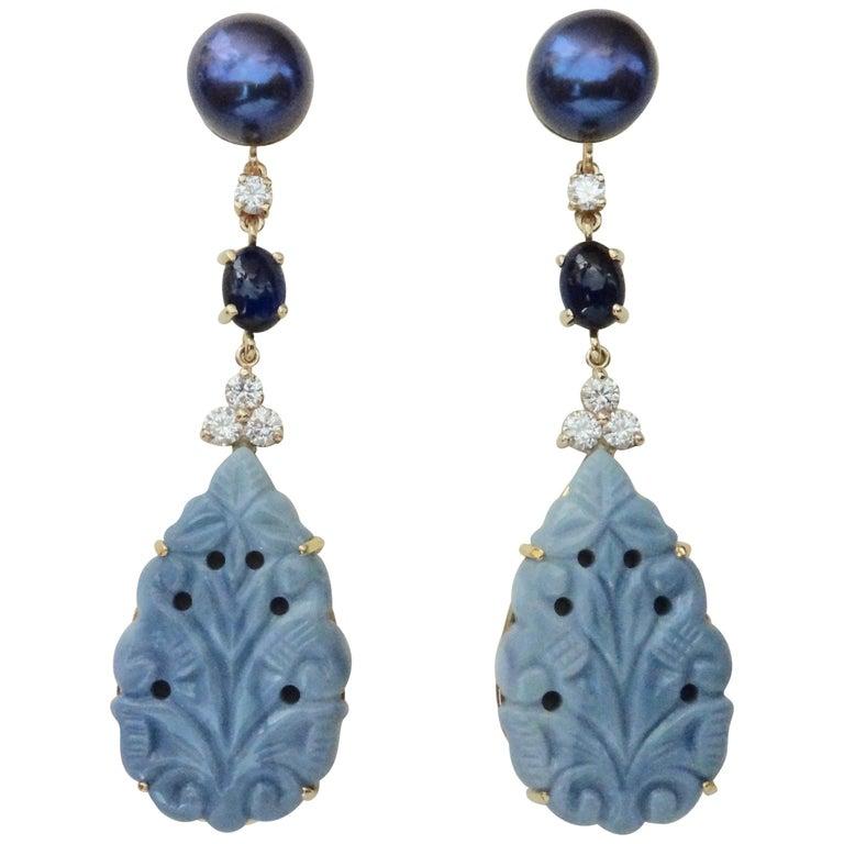 Michael Kneebone Blue Opal Sapphire Diamond Black Pearl Dangle Earrings For Sale
