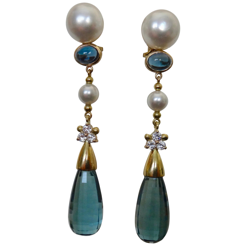 Michael Kneebone Blue Topaz Briolette Pearl Diamond Dangle Earrings