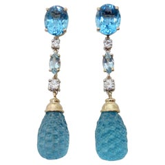 Michael Kneebone Blue Topaz Carved Briolette Aquamarine Diamond Dangle Earrings
