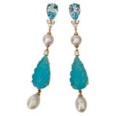 Michael Kneebone Blue Topaz Diamond Akoya Pearl Blue Chalcedony Dangle Earrings