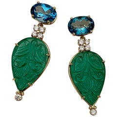 Michael Kneebone Blue Topaz Diamond Carved Green Quartz Dangle Earrings