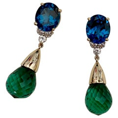 Michael Kneebone Blue Topaz Diamond Green Amethyst Dangle Earrings