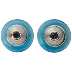 Michael Kneebone Blue Topaz Gray Pearl Fluorite 18 Karat Gold Button Earrings