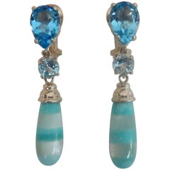 Michael Kneebone Blue Topaz Mother-of-Pearl Turquoise Dangle Earrings