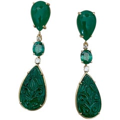 Michael Kneebone Botswana Agate Green Topaz Diamond Green Onyx Dangle Earrings