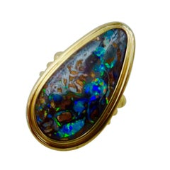Michael Kneebone Boulder Opal 18 Karat Yellow Gold Cocktail Ring