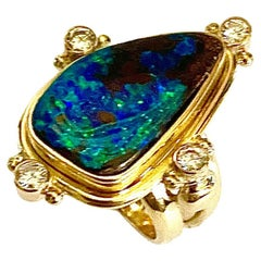 Michael Kneebone Boulder Opal Diamond Archaic Style Ring
