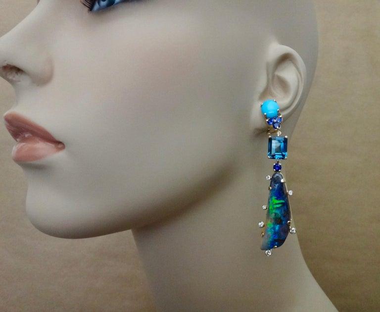 Michael Kneebone Boulder Opal Turquoise Sapphire Topaz Diamond Dangle Earrings For Sale 5
