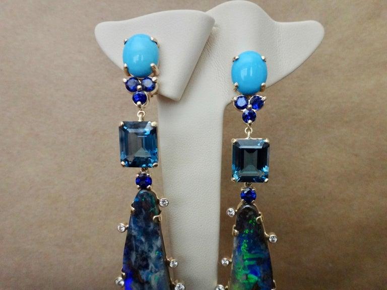 Michael Kneebone Boulder Opal Turquoise Sapphire Topaz Diamond Dangle Earrings For Sale 6