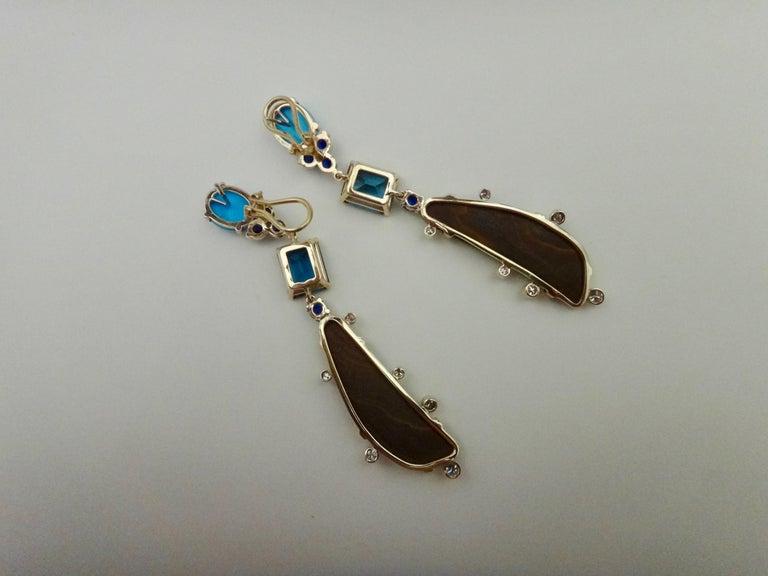 Michael Kneebone Boulder Opal Turquoise Sapphire Topaz Diamond Dangle Earrings For Sale 7