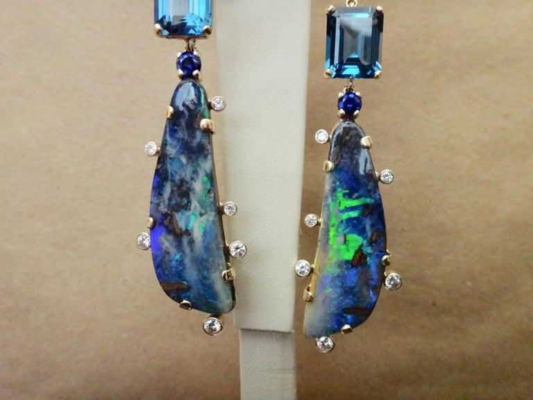 Women's or Men's Michael Kneebone Boulder Opal Turquoise Sapphire Topaz Diamond Dangle Earrings For Sale