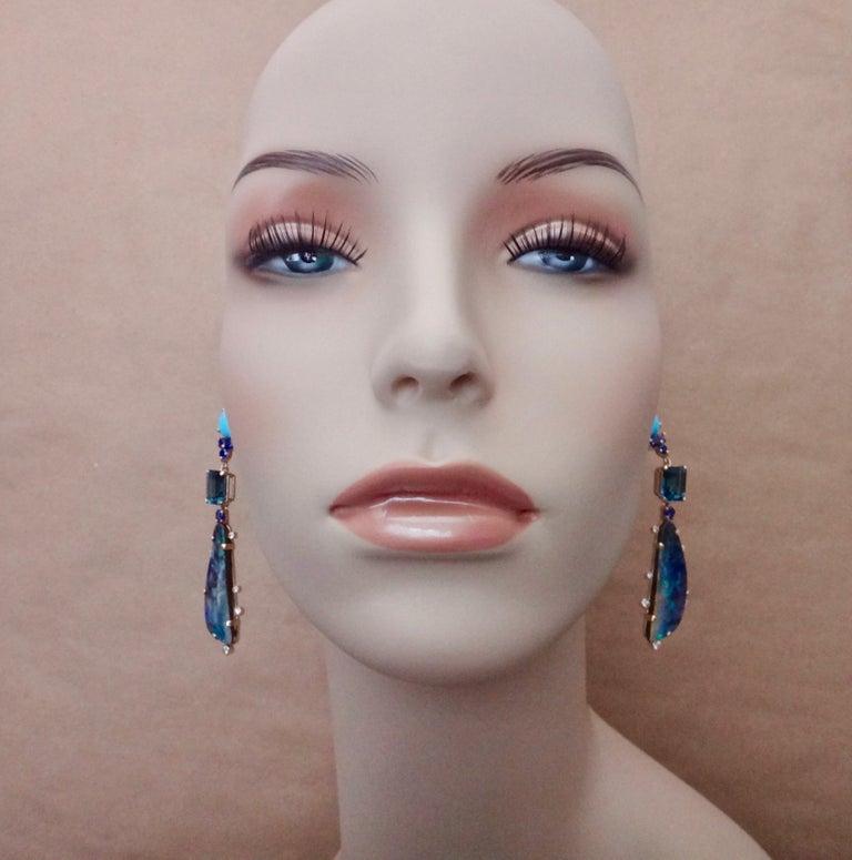 Michael Kneebone Boulder Opal Turquoise Sapphire Topaz Diamond Dangle Earrings For Sale 1