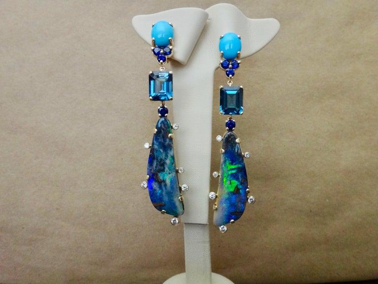 Michael Kneebone Boulder Opal Turquoise Sapphire Topaz Diamond Dangle Earrings For Sale 2