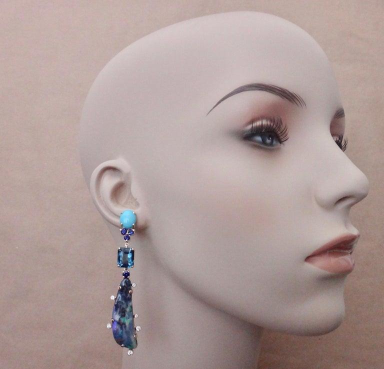 Michael Kneebone Boulder Opal Turquoise Sapphire Topaz Diamond Dangle Earrings For Sale 3