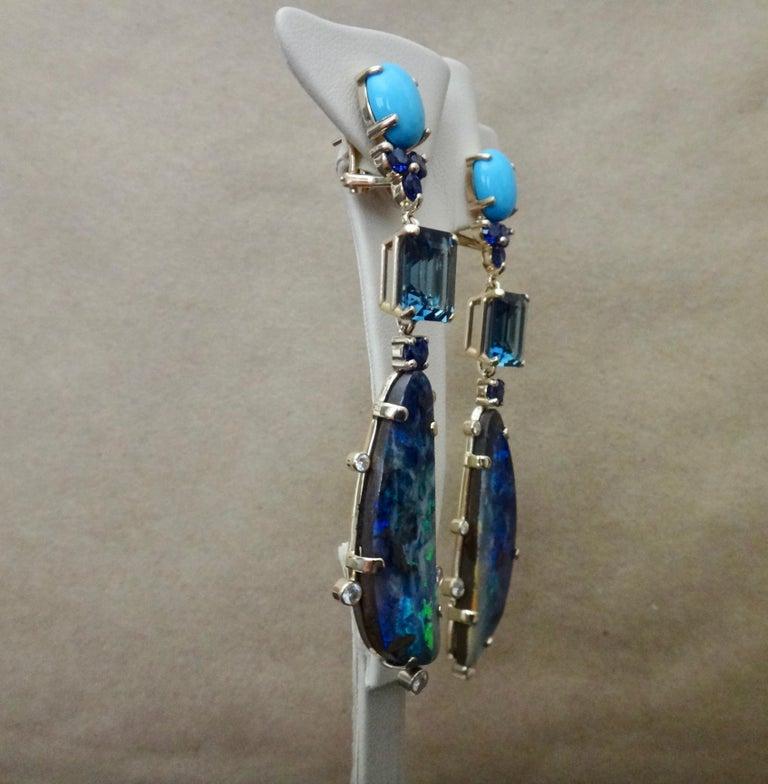 Michael Kneebone Boulder Opal Turquoise Sapphire Topaz Diamond Dangle Earrings For Sale 4