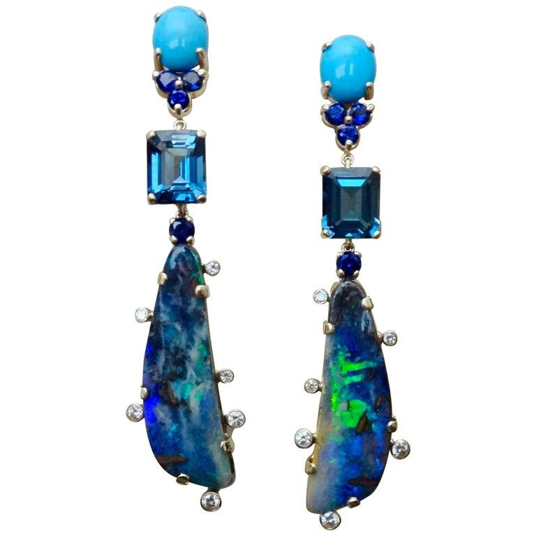 Michael Kneebone Boulder Opal Turquoise Sapphire Topaz Diamond Dangle Earrings For Sale