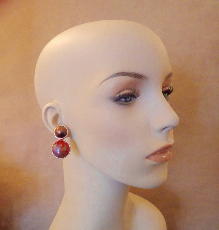 Michael Kneebone Bronze Mobe Pearl Red Jasper Pink Gold Drop Earrings In Excellent Condition For Sale In Rancho Mirage, CA
