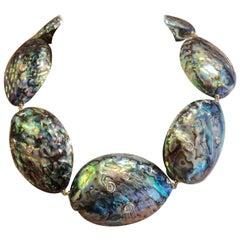 Michael Kneebone Burmese Zircon Paua Pearl Necklace