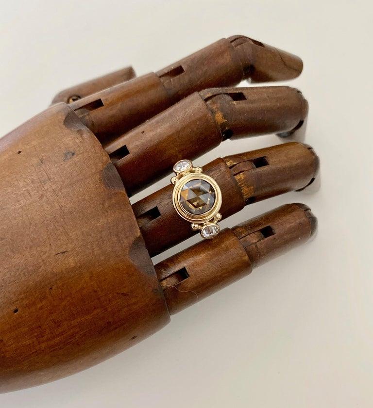 Michael Kneebone Burmese Zircon Rose Cut Diamond Archaic Style Cocktail Ring For Sale 5