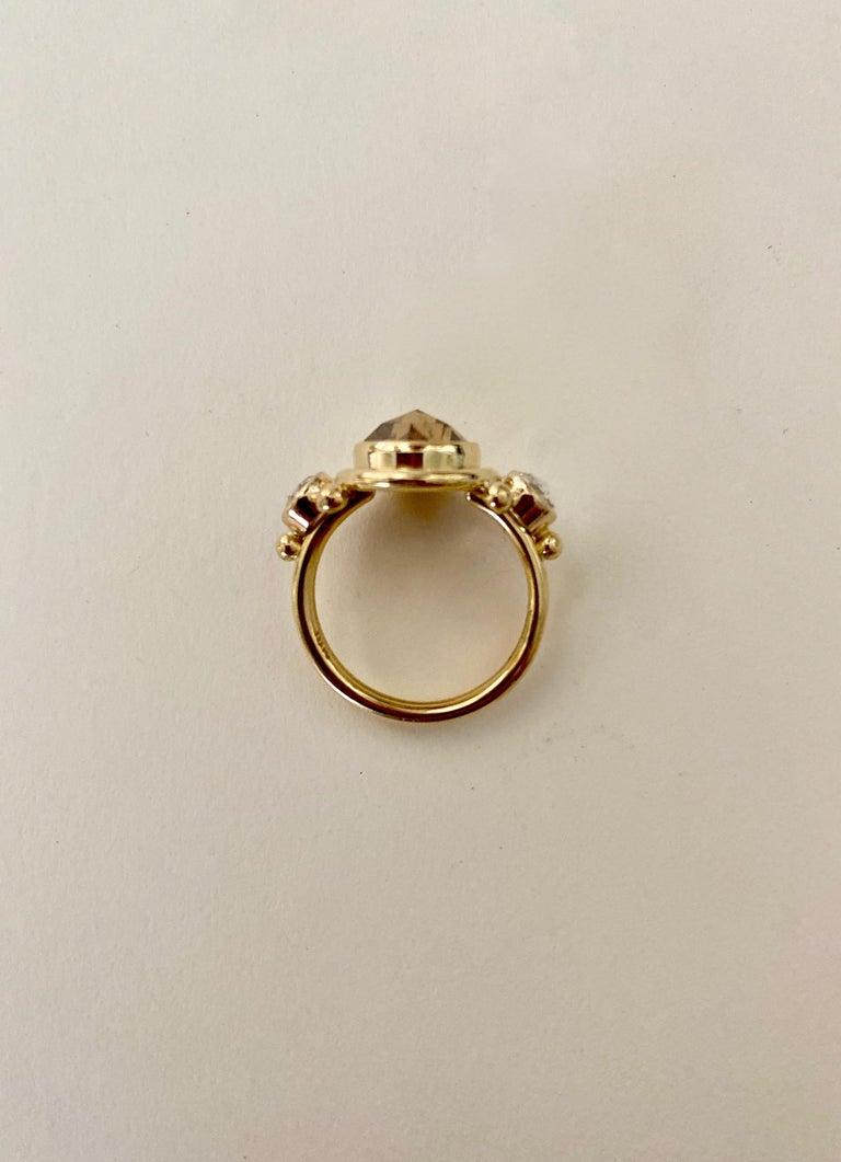 Michael Kneebone Burmese Zircon Rose Cut Diamond Archaic Style Cocktail Ring For Sale 6