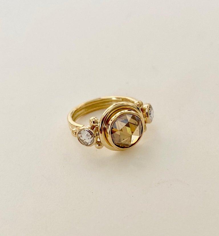 Contemporary Michael Kneebone Burmese Zircon Rose Cut Diamond Archaic Style Cocktail Ring For Sale