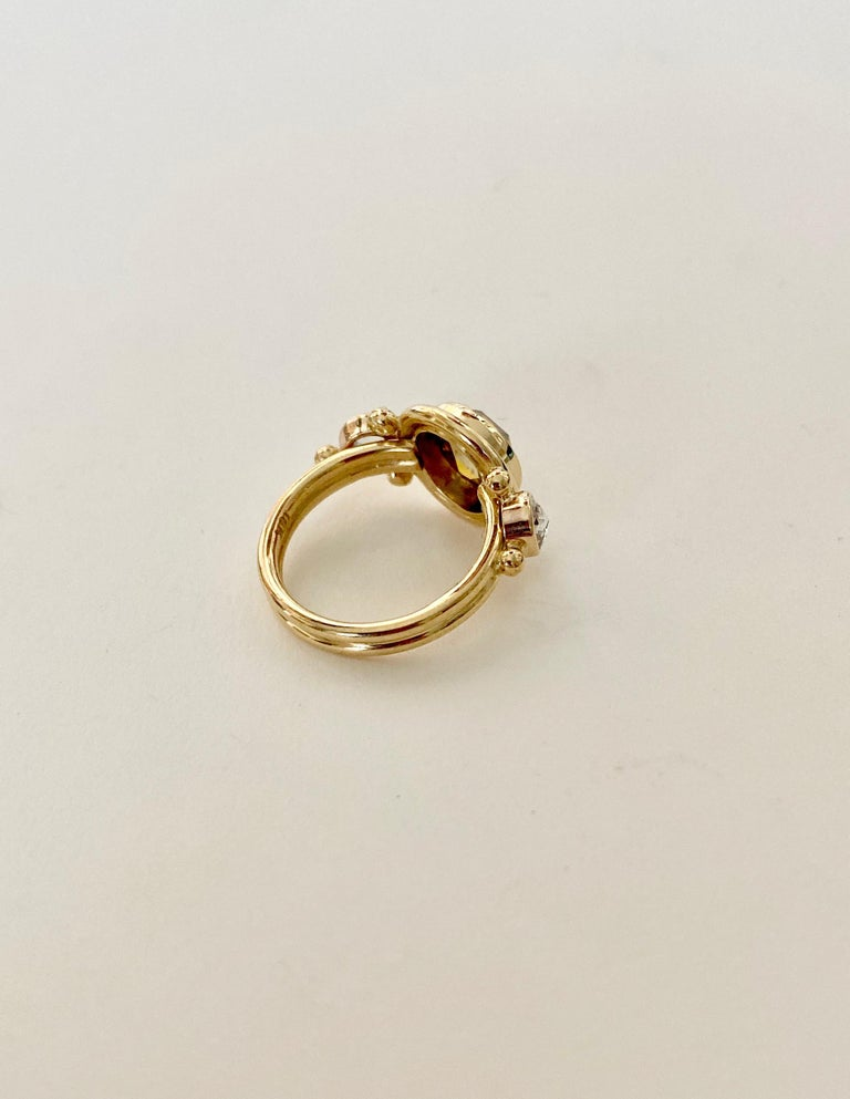 Women's or Men's Michael Kneebone Burmese Zircon Rose Cut Diamond Archaic Style Cocktail Ring For Sale