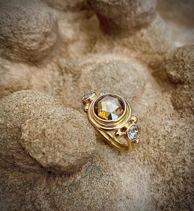 Michael Kneebone Burmese Zircon Rose Cut Diamond Archaic Style Cocktail Ring For Sale 1