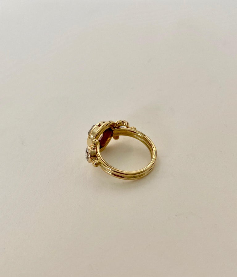 Michael Kneebone Burmese Zircon Rose Cut Diamond Archaic Style Cocktail Ring For Sale 2